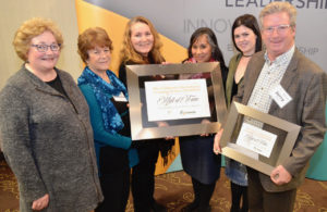 The Children's International Learning Centre (CILC) earned a place in Capacity Canada's governance Hall of Fame because of the work it has done to improve the way its board of directors operates. The prize included a $5,000 cheque from the Cowan Foundation. From left: Cathy Brothers, chief executive officer, Capacity Canada; Isabella Marchese, bylaw committee chair, CILC; Olwyn Moxley, board president, CILC; Lana Lowe, executive director, CILC; Kristin Prince, vice-chair, CILC; and Jerry McDougall, branch manager and account executive, Cowan Insurance Group, Hamilton.